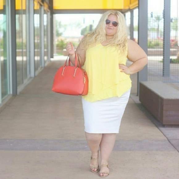 Tops - 3x yellow layered blouse